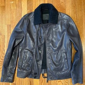 All Saints Shearling Collar Leather Jacket, Small